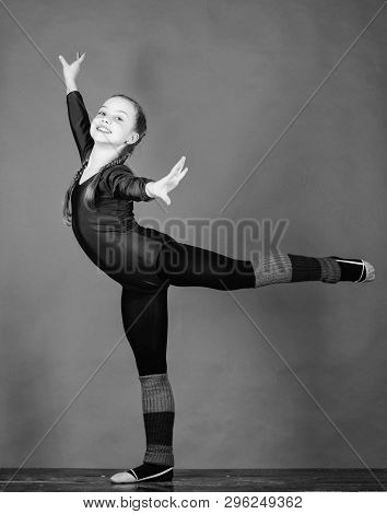 Physical education and gymnastics. Flexible healthy body. Future star of rhythmic gymnastics. Rhythmic gymnastics sport combines elements ballet dance. Try hard. Girl little gymnast sports leotard poster