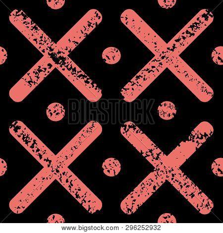 Coral Crosses And Polka Dots With Grunge Texture For Painterly, Urban Look. Bold Seamless Geometric