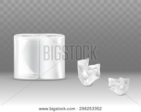 Toilet Paper, Kitchen Paper Towels Pack 3d Realistic Vector Mockup With Two Paper Rolls Sealed In Pl