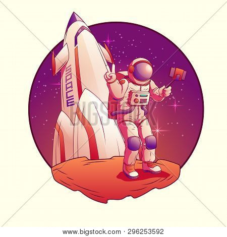 Astronaut Making Selfie On Moon. Spacemen In Space Suit Giving Peace Or Victory Sign On Rocket Backg