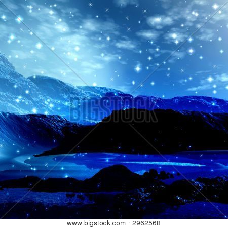 Magical glow landscape with stars. Mountains. 3d render poster