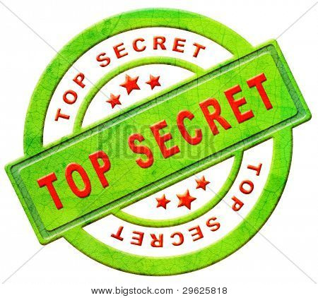 top secret icon or stamp confidential or classified information secrecy button in red text on green isolated on white