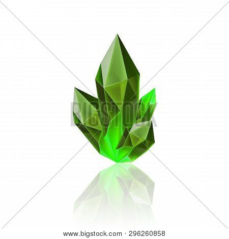 Magic Green Crystal With Sparkle. Decoration Icon For Games. Cartoon Crystals Illustration. Stone He