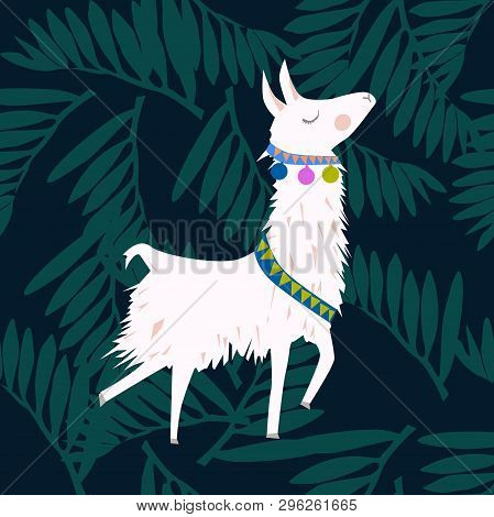 Cute Lama Seamless Pattern. Vector Baby Animal Illustration For Kids. Child Drawing Style Lama. Desi