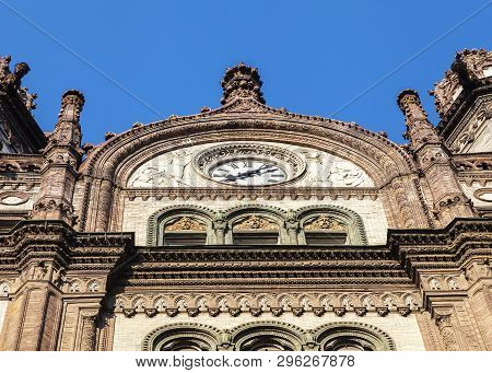 The Facade Of The Old Antique Parisi Udvar Shopping Mall In Budapest, Hungary