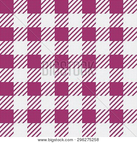 Vector Seamless Texture With Vichy Cage Ornament. White And Pink Cages