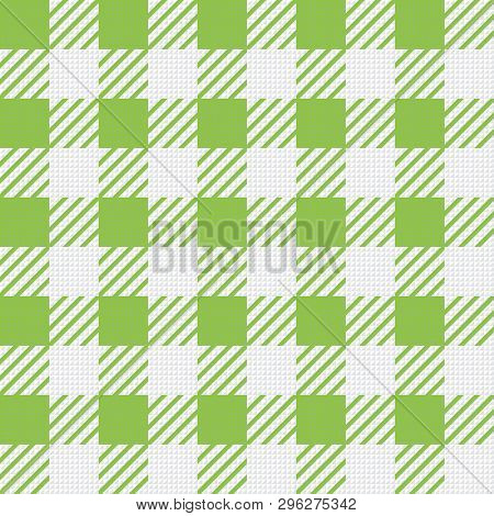 Vector Seamless Texture With Vichy Cage Ornament. Green And White Cages