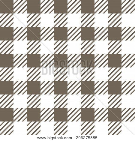 Vector Seamless Texture With Vichy Cage Ornament. Grey And White Cages