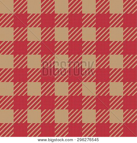 Vector Seamless Texture With Vichy Cage Ornament. Brown And Beige Cages