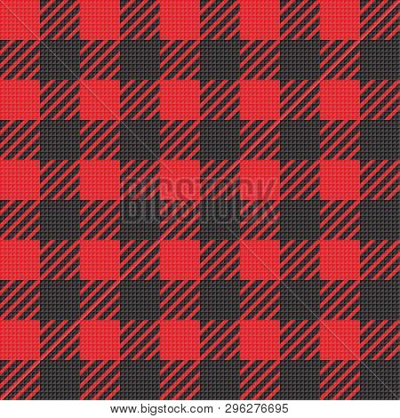 Vector Seamless Texture With Vichy Cage Ornament. Red And Blakc Cages