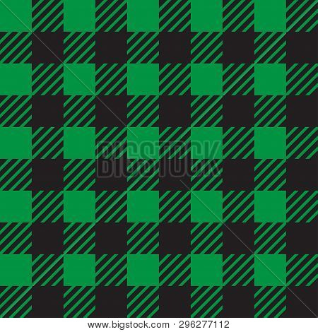 Vector Seamless Texture With Vichy Cage Ornament. Green And Black Cages