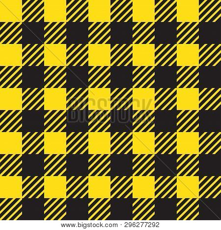 Vector Seamless Texture With Vichy Cage Ornament. Yellow And Black Cages