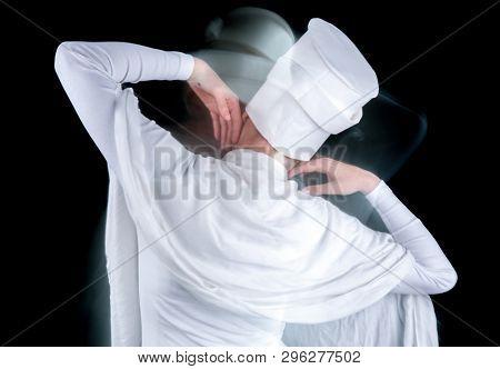 Muslim woman dancing so fast