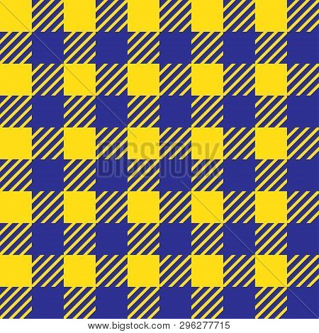 Vector Seamless Texture With Vichy Cage Ornament. Yellow And Blue Cages