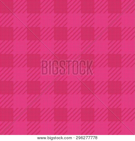 Vector Seamless Texture With Vichy Cage Ornament. Pink Cages