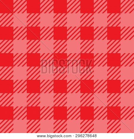 Vector Seamless Texture With Vichy Cage Ornament. Red And Pink Cages