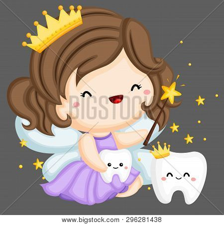 A Vector Of A Tooth Fairy And A Couple Of Teeth