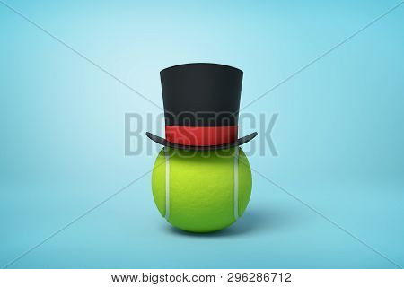 3d Rendering Of Tennis Ball Wearing Black Tophat With Red Ribbon On Light Blue Background.