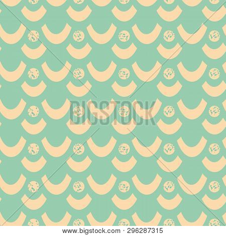 Soft Yellow Sunny Dots And Waves With Textured Chalk Effect. Sunny Seamless Geometric Vector Pattern