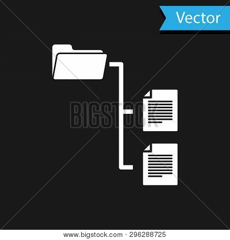 White Folder Tree Icon Isolated On Black Background. Computer Network File Folder Organization Struc