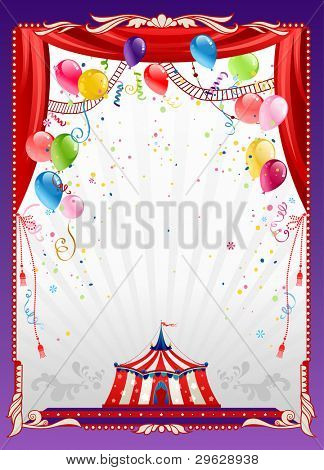 Circus background with balloons with space for text poster