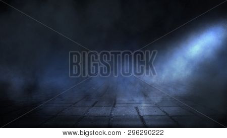 Dark Street, Night Smog And Smoke Neon Light. Dark Background Of The Night City, Ray Of Light In The