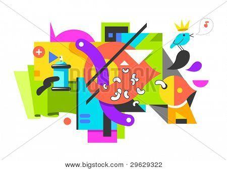 Digital graffiti background. Vector illustration.