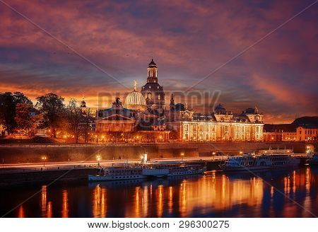 Amazing Colorful Scene During Sunset  At The Old Town In Dresden, Saxony, Germany. Famouse Sights: F