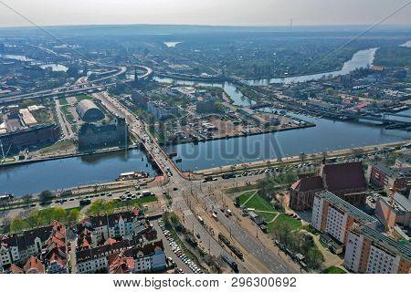Szczecin, Poland - 08 April 2019 - Aerial View On Szczecin City, Area Of Dlugi Most And Trasa Zamkow