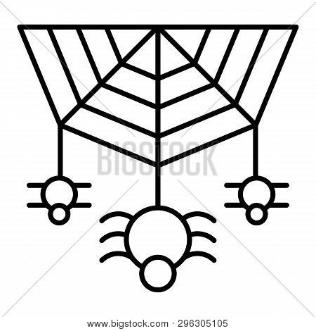 Spider On The Web Thin Line Icon. Cobweb With The Spider Vector Illustration Isolated On White. Arac