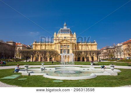 Zagreb, Croatia - April, 2018: The Historical Art Pavilion Building In Zagreb Capital Of Croatia