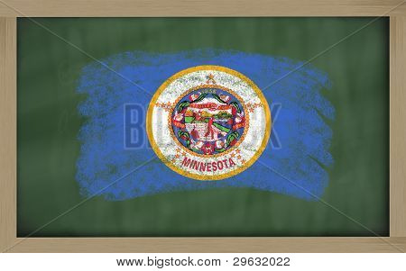 Flag Of Us State Of Minnesota On Blackboard Painted With Chalk
