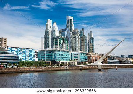 Buenos Aires Argentina - Dec 27, 2018: Puerto Madero district on suny day in Buenos Aires, Argentina.