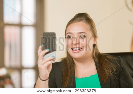 Young Creative Professional Woman With Braces In A Video Chat Session