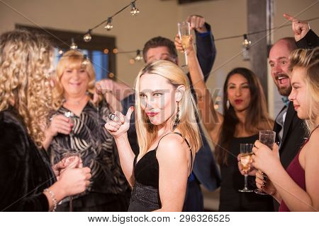 Funny Mature Woman At A Party Or Reception