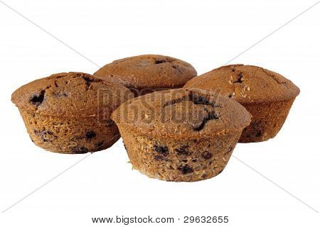 Four Gluten Free Muffins Isolated