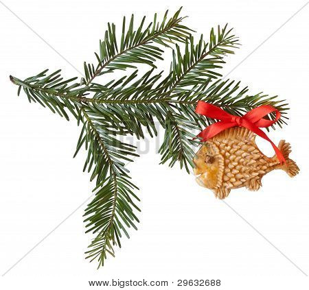 Spruce Bow With A Gingerbread Fish Isolated