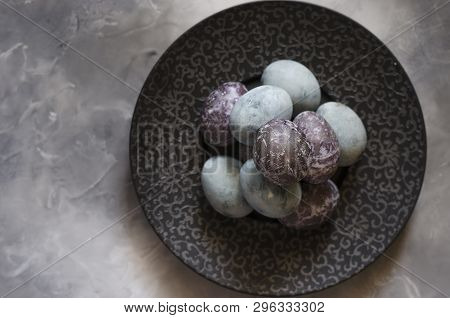 Easter Eggs On A Beautiful Black Plate