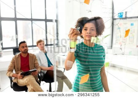 business, startup, planning and people concept - african american woman drawing scheme on glass board for creative team at presentation in office