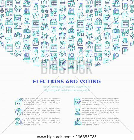 Election And Voting Concept With Thin Line Icons: Voters, Ballot Box, Inauguration, Corruption, Deba