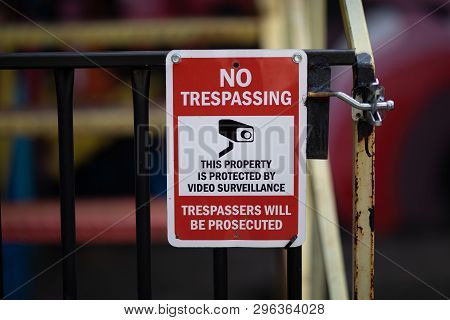 Warning Sign Text No Trespassing Video Surveillance Tresspassers Prosecuted