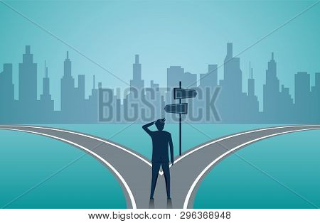 Businessmen standing on the road the crossroad. Concept of important choices of a business. Decide direction. Human standing choice of ways. illustration cartoon vector poster