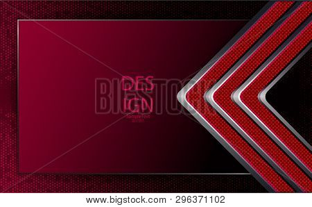 Abstract Geometric Red Textural Composition With Grooved Arrows