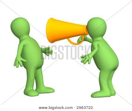 3d person - puppet with an orange megaphone. Objects over white poster