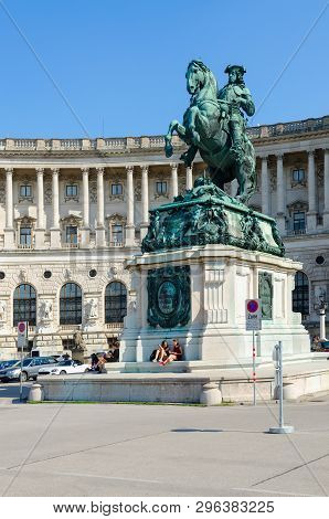 Vienna, Austria - September 17, 2018: Unidentified People Are Near Monument To Prince Eugene Of Savo