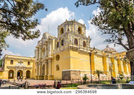 Antigua,guatemala - March 4,2019 - View At The La Merced Church In Antigua Guatemala. Antigua Guatem