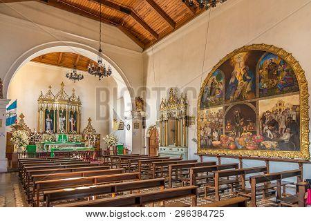 Antigua,guatemala - March 4,2019 - View At The Interior Of San Pedro Apostol Church In Antigua Guate