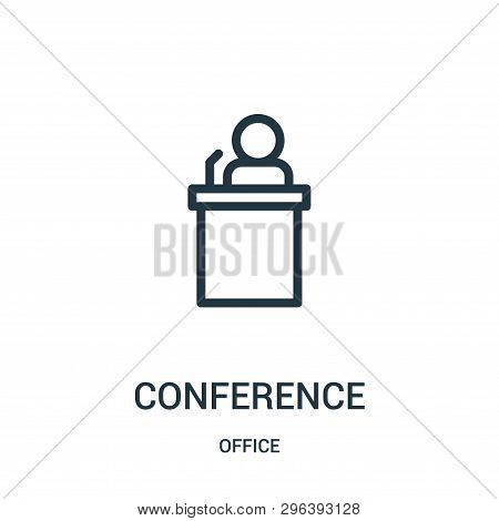 Conference Icon Isolated On White Background From Office Collection. Conference Icon Trendy And Mode