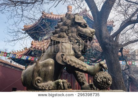 Chinese Guardian Lion Commonly Called Foo Dog In Lama Temple In Beijing, Capital City Of China