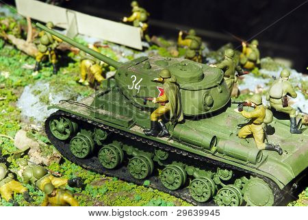 Tank Of Times Of World War With Infantrymen